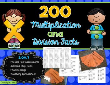 200 multiplication and division facts: *Pre- and post- assessments (all facts on one multiplication sheet and one division sheet) to determine which facts your students need to work on*Weekly mini-tests on each multiplication and division step (10 per test, each fact 0-10 represented, 0s and 1s combined, 10s and 11s combined), to be done in 30 seconds.*Study rings (copy front-to-back on colored card stock, laminate, and use with binder rings) are the perfect tool for students to use at home…