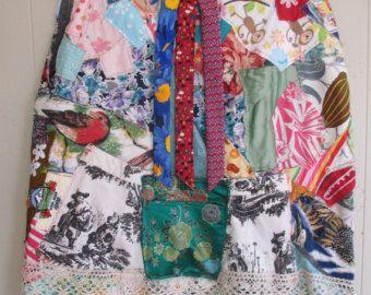 Gewand Schal CAPE in vielen Farben  Stoff Collage Wearable