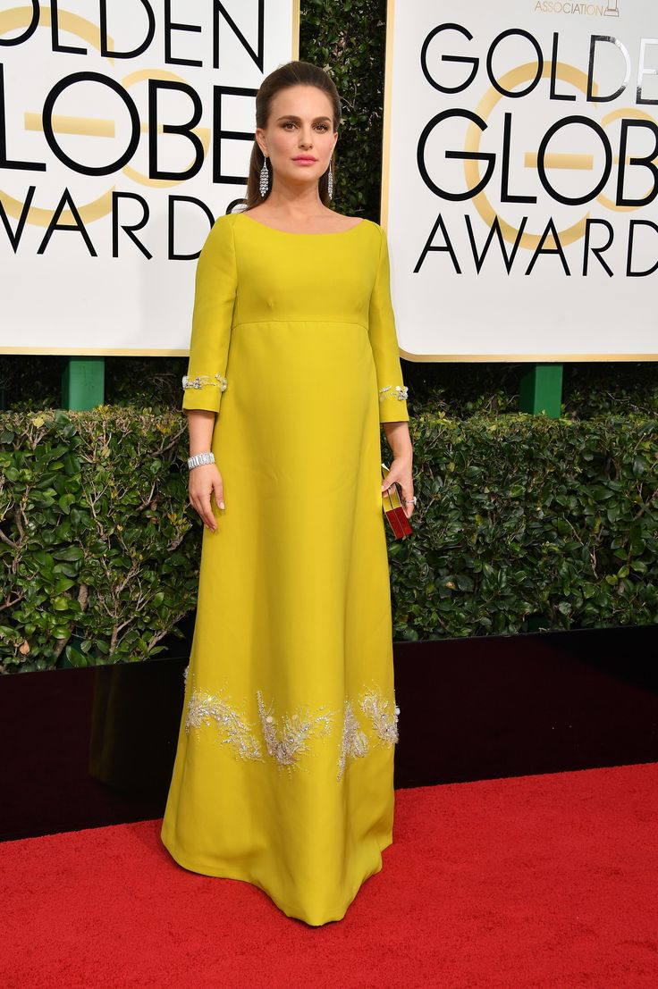 BEST: Stunning! Pregnant Natalie Portman channeled Jackie Kennedy in this eye-catching mustard yellow gown with intricate white embroidery. (Photo by Steve Granitz/WireImage) via @AOL_Lifestyle Read more: http://www.aol.com/article/entertainment/2017/01/08/golden-globes-2017-best-and-worst-dressed/21650510/?a_dgi=aolshare_pinterest#fullscreen