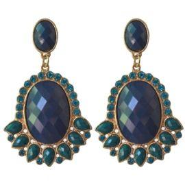 Statement oorbellen blauw/groen