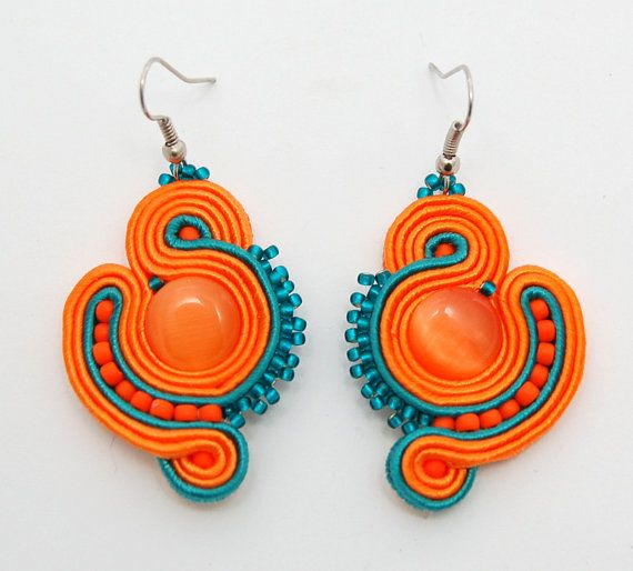 Sweet orange  handmade soutache earrings by martazare on Etsy, $40.00