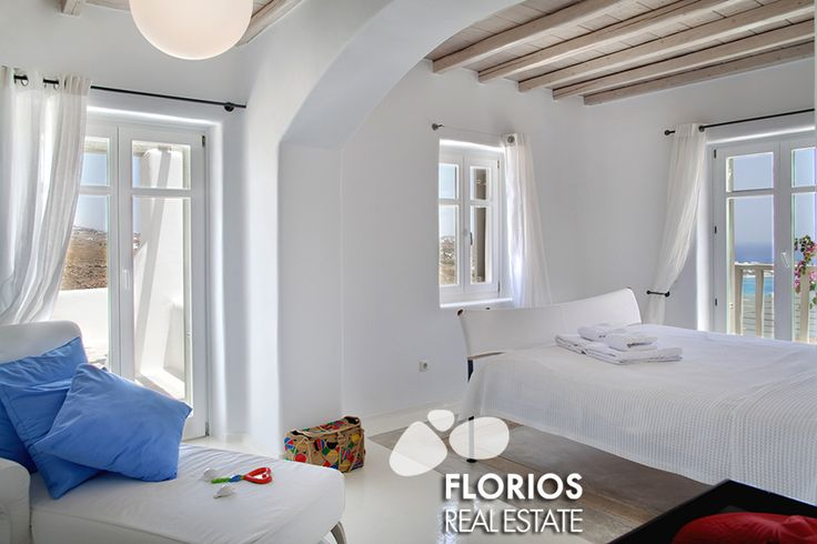 The bedrooms are all spacious with en-suite bathrooms, while the guest room by the pool preserves independence and privacy. FMV1021 Villa for Sale on Mykonos island Greece. http://www.florios.gr/en/mykonos-property/18.html