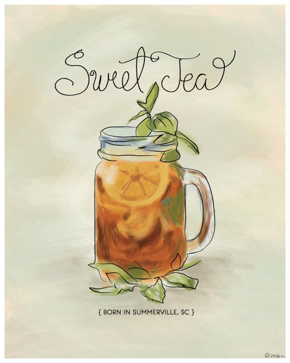 Southern Sweet Tea Print  Summerville SC by ModernSouth on Etsy