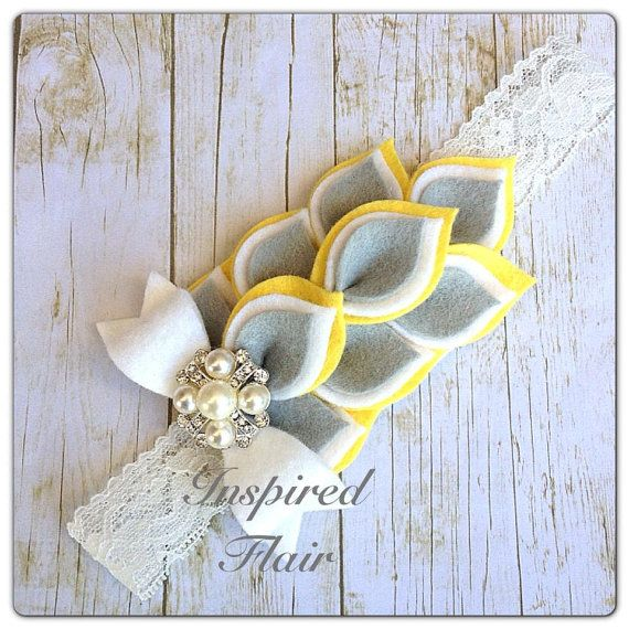 Yellow, White & Grey Dahlia Felt Flower Headband Piece- Baby Girl Headband- Infant Headband- Toddler Headband- Birthday- Pageant on Etsy, $14.00