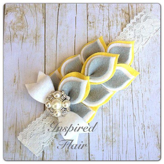 Amarillo, blanco & gris Dahlia fieltro flor diadema trozo nena chica venda materno-infantil diadema-Toddler diadema - cumpleaños-concurso