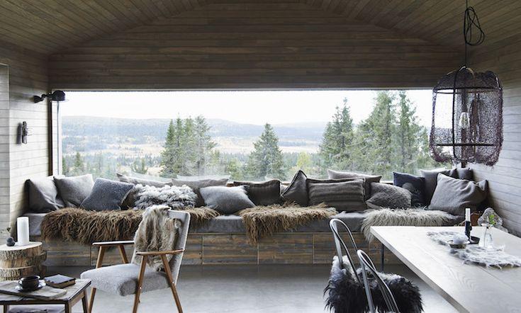 Rustic Norwegian cabin with window seat