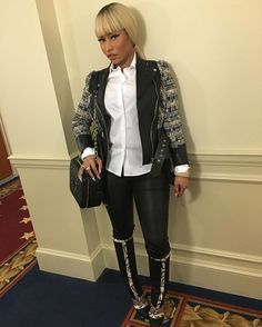 My fave Jacket right now by #AlexanderMcQueen Boot by #christianlouboutin my fave bag right now by #Chanel white button down by #GiorgioArmani Leather leggings by #HelmutLang hair & makeup by #NickiMinaj