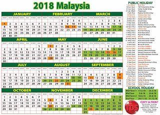 TDS: 2018 Calendar Malaysia - Kalendar 2018