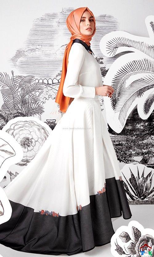 Siyah Beyaz Uzun Elbise Kayra 2016