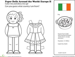 First Grade Paper Dolls Community & Cultures Worksheets: Irish Paper Doll