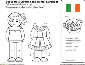 First Grade Paper Dolls Community & Cultures Worksheets: Irish Paper Doll