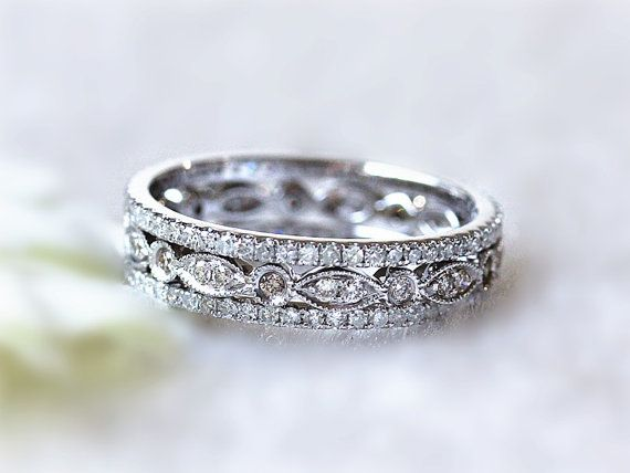 Diamond Wedding Band Set Of 14K White Gold Milgrain Bezel Diamond Ring and 2 thin Mico pave diamond Fully Eternity Wedding Band