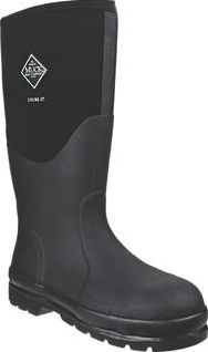 Muck Boots Chore Classic Steel Safety Wellington Size 9. Black. Rugged safety wellingtons with waterproof, neoprene upper and triple-reinforced toe. Features a steel shank and a metatarsal guard for extreme impact protection. Comes with a generous r http://www.comparestoreprices.co.uk/january-2017-9/muck-boots-chore-classic-steel-safety-wellington.asp