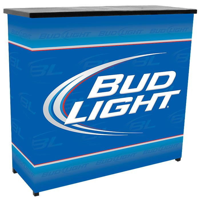 Trademark Commerce AB8000-BL Bud Light Metal 2 Shelf Portable Bar Table w/ Carrying Case