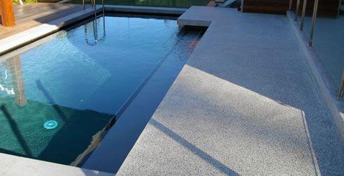 polished concrete pool edging