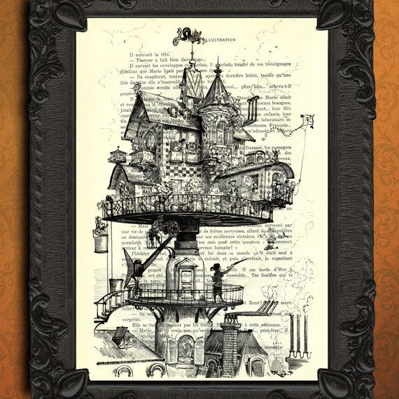 Aerial house  victorian house print  steampunk by MadameMemento, $7.99