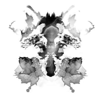 Rorschach Image.  What do you see?  Evergreen forest, dog, chipmunks, birds, woman wearing birthday hat.  Come on, what do you see?