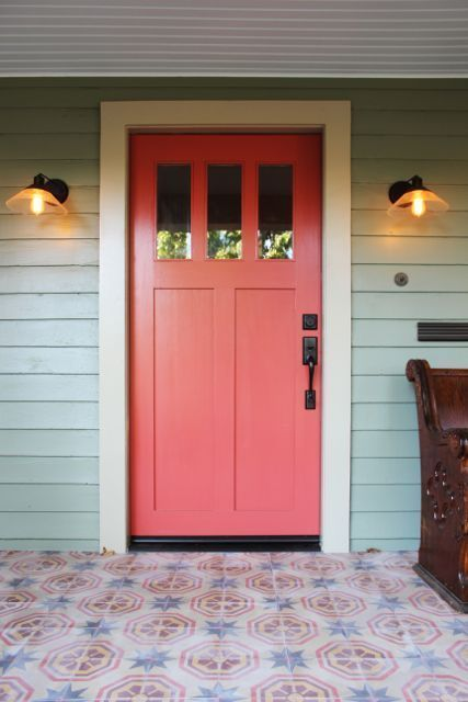 benjamin moore  Exterior siding: Jojoba  Exterior Trim: Meditation  Front Door: Moroccan Spice    http://www.apartmenttherapy.com/design-vidals-renovated-for-sale-farmhouse-177216#