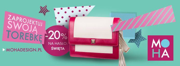 """Zaprojektuj swoją wymarzoną torebkę lub kup bon podarunkowy idealny jako prezent na nadchodzące Święta! Na hasło """"Święta"""" -20%! *********************************** www.mohadesign.pl"""