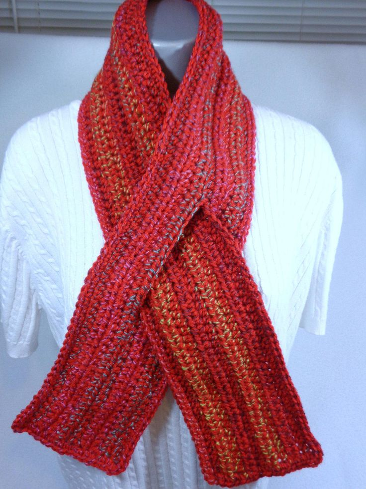 Neckwarmer with Slit, Red with Multicolor Keyhole Scarf ...