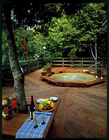 Redwood deck outside with sunken hot tub, a bottle of wine, My Significant Other, and a whole night under the stars to enjoy it. Yes I could see that! LD.