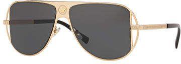 Men's Medusa Head/Greek Key Cutout-Frame Sunglasses