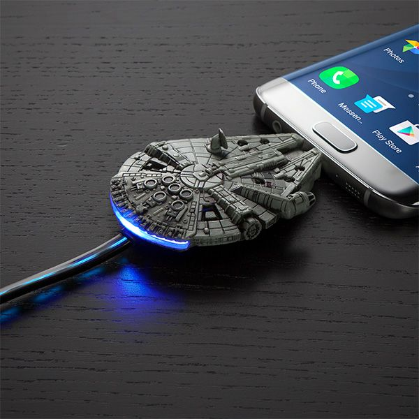 We made a lot of special modifications ourselves. Fly your very own Millennium Falcon into your phone's charging port and watch it hit light speed - or 100% battery.