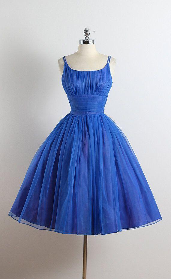 BLEU BIJOU ➳ vintage 1950s dress * royal blue nylon * acetate & tulle purple lining * rhinestone accents straps * gathered bodice & waist * metal side