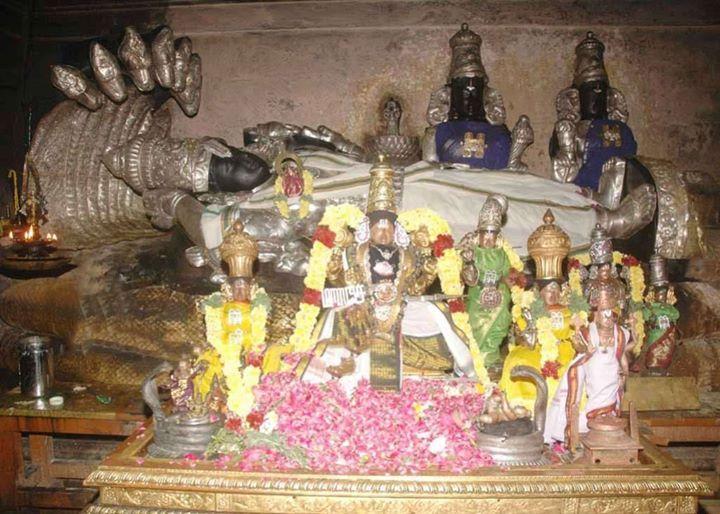 Lord Vishnu in the divine form of Govindaraja Perumal in reclining posture at the Govindaraja Perumal Temple at Chidambaram in Cuddalore district of Tamil Nadu.  || Om Namo Bhagavathe Vasudevaya || - TemplePurohit.com  Govindaraja Perumal Temple is one of the 108 Divya Deshams. Thiru Mangai Azhwar praised Lord Vishnu here in his 32 pasurams of Divya Prabandam.  History of the Temple The shrine is related with Govindaraja Perumal Temple in Tirupati. Saint Ramanujar took the festive shrine of…