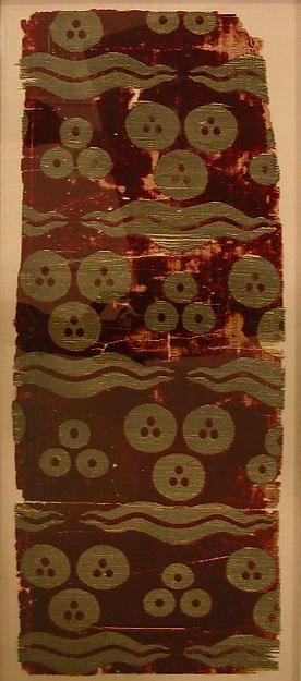 Silk Velvet Fragment with Tiger-stripe and 'Cintamani' Design