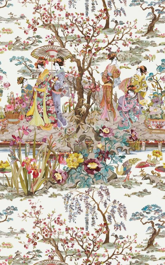 Japanese Garden Wallpaper A spectacular wallpaper featuring a classic Japonais scene of kimono-clad ladies beside an ornamental brook, coloured in a fresh and contemporary manner. Shown in watery pinks, browns and yellows on an off-white ground.