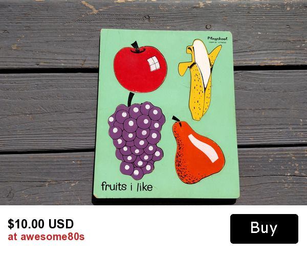 """awesome retro 50s playskool """"Fruits I Like"""" children's wooden puzzle"""