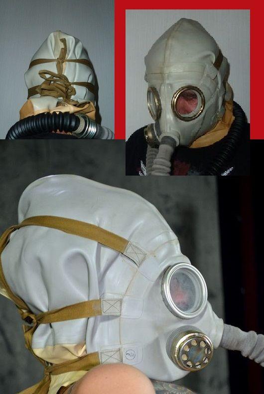 Schutzmaske SchR2 entwickelt für Kopfverletzte .  Die Gummihaube umschließt den kompletten Kopf.  Mit den 3 Bändern wird die Maske über Mund und Nase fixiert. Am Hals dichtet eine angearbeitete Gummimanschette ab. Durch die hohe Luftfeuchte unter der Maske beginnt man sehr schnell extrem zu schwitzen., für Fetish-Spiele mit aromatisierter Atemluft und Atemkontrolle ideal