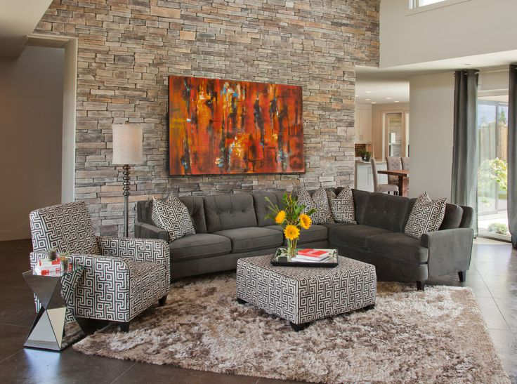 bright palliser furniture in living room eclectic with orange brick next to stone tile fireplace alongside living room modernideas