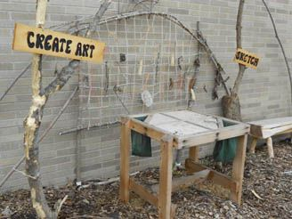 creative outdoor weaving area