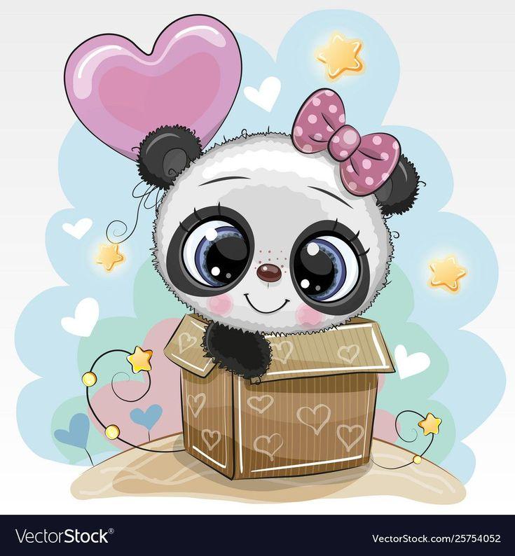 Birthday card cute panda and balloon royalty free vector