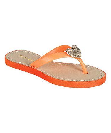 Look at this #zulilyfind! Orange Rhinestone Heart Glinda Sandal by Bamboo
