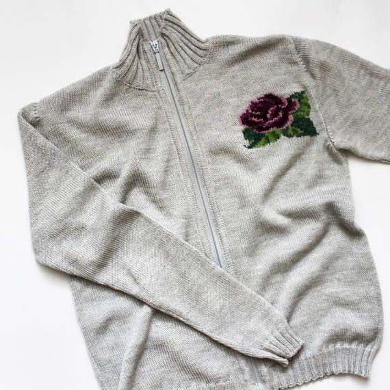 Jacket with zipper wool knit sweater women knit sweater