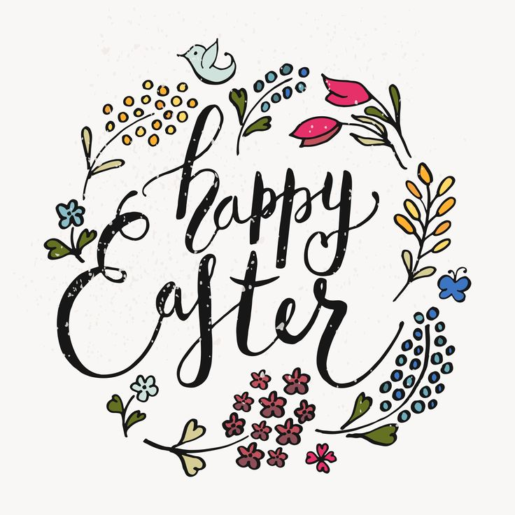 Happy easter calligraphy art and