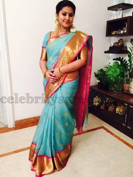 Sneha Blue Traditional Saree | Saree Blouse Patterns