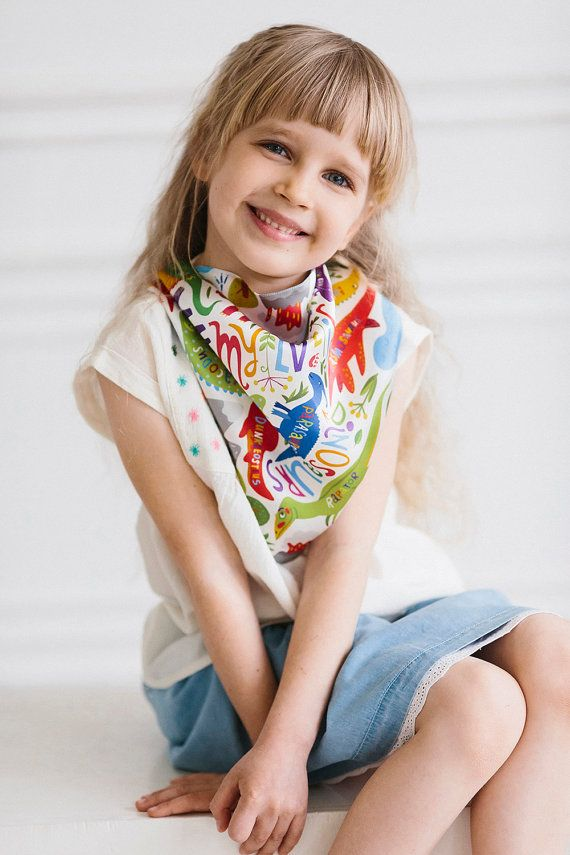 "Silk kerchief ""Dreams"". Dinosaurs Photographer - Yana Godenko, model - Sofia #mysilkstory #silk #scarf #shawl #fashion #art #inspiration #accessories #textile #design #cloth #style #love #Ukraine #exclusive #drawings #kid #children #girl #boy #kerchief #fun #dinosaurs #history #nature #era"