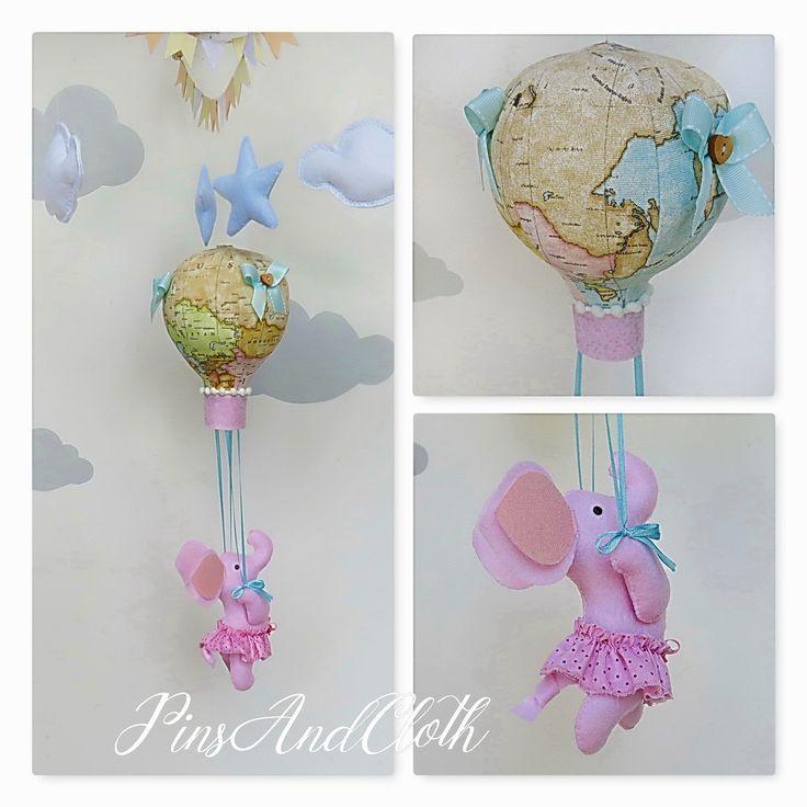 Baby girl mobile/Hot air balloon mobile/Adventure nursery decor/Mobile hot air balloon/Elephant in balloon mobile/Travel theme nursery decor