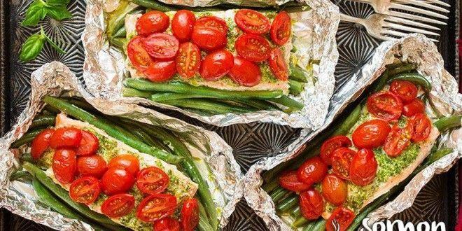 Fırında+Pesto+Soslu+Sebzeli+Somon+Tarifi