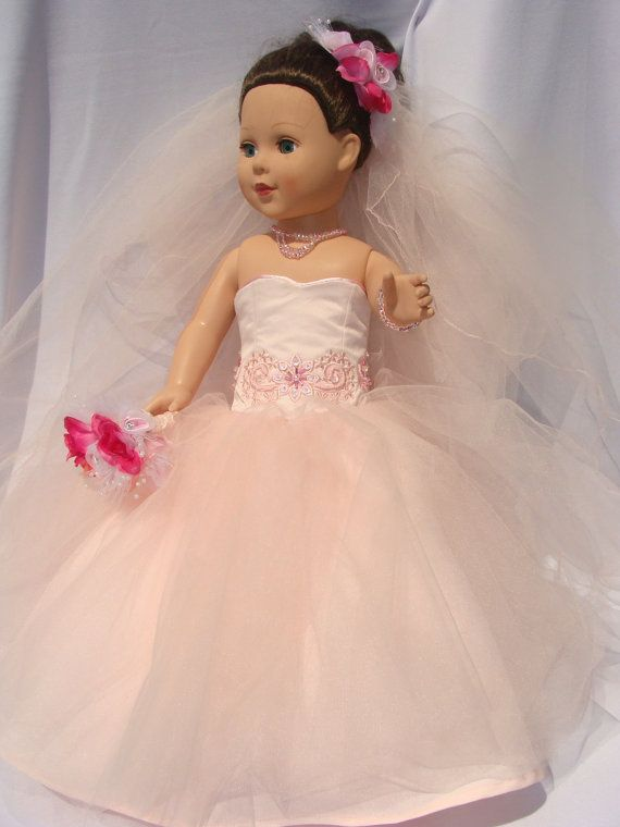 Tulle Blushing Bride for American Girl Doll by NormasSpecialDays