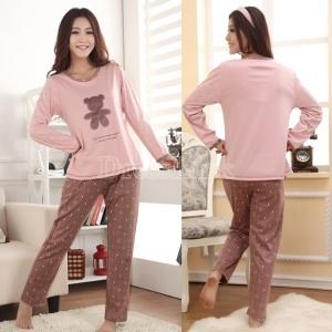 $7.20 Women's Cute Cartoon Bear Dot Design Long Sleeve Cotton Home Wear Pajamas Sleepwear