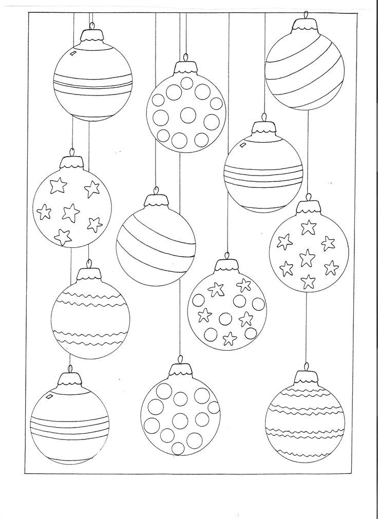 Color your own christmas ornaments printable for Christmas baubles templates to colour
