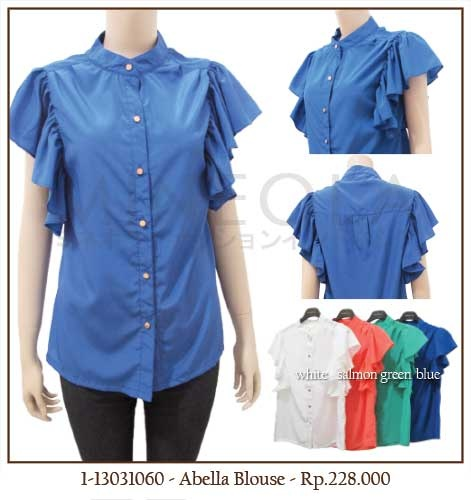 #MINEOLA Abella Blouse Blue. Also available in white, salmon, and green color. Get this for only Rp.228.000,-   Fabrics: spandex rayon Product code: 1-13031060 Bust: 96cm - Length: 66cm - Sleeve: 34cm