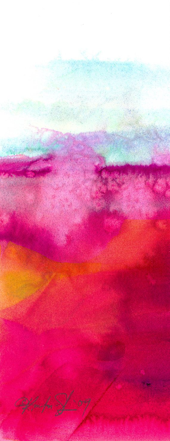 "Pink, Purple, Orange, abstract painting, Landscape Art, Original Contemporary Modern art ""Abstract 107"" by Kathy Morton Stanion EBSQ"