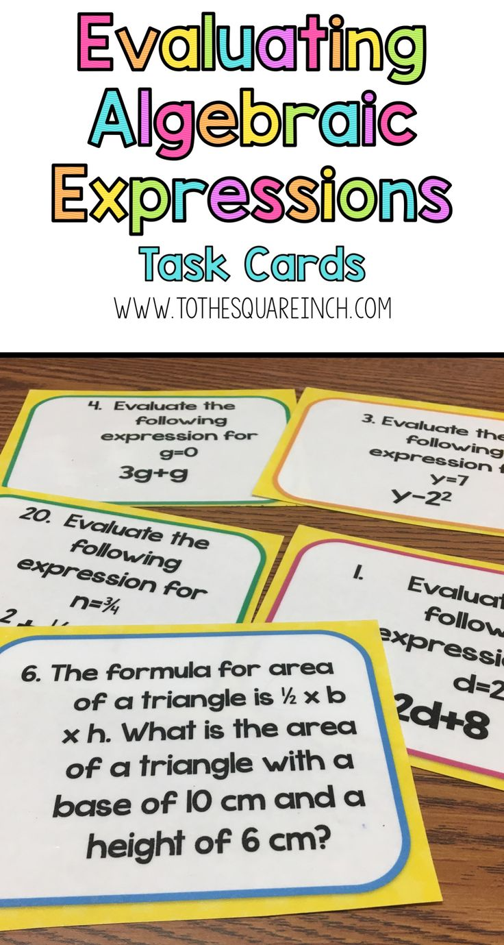 worksheet Algebraic Expressions best 25 algebraic expressions ideas on pinterest solving evaluating task cards