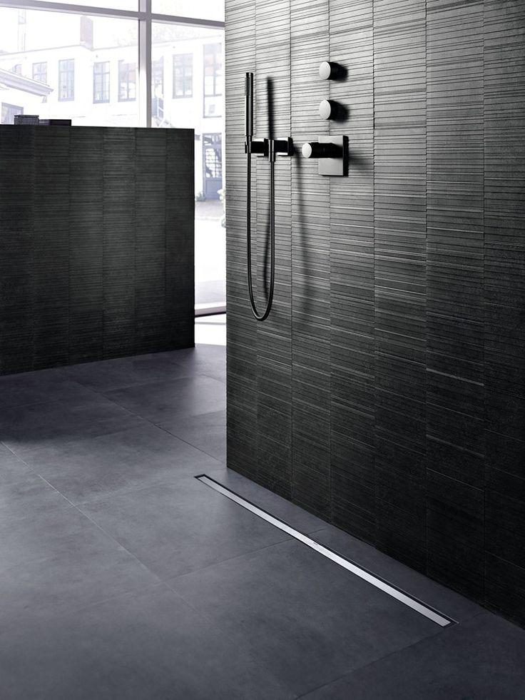 Steel shower channel CLEANLINE by Geberit Italia #black #bathroom